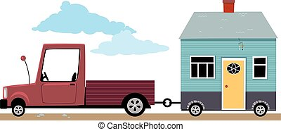 Track hauling a little house on wheels, EPS 8 vector illustration