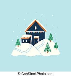 Tiny house with Christmas tree