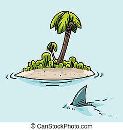 Tiny Island - A cartoon shark swims past a tiny, tropical...