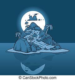 Tiny Island at Night