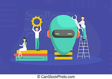 Tiny IT Professionals Creating Robot, Scientists Characters Conducting Scientifical Research in Laboratory Vector Illustration