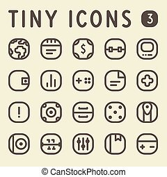 Tiny Line Icons Set 3 - Tiny Line Icons for web and mobile...