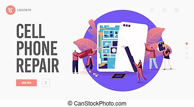 Tiny Male and Female Characters with Instruments Assembling or Repair Huge Smartphones Landing Page Template