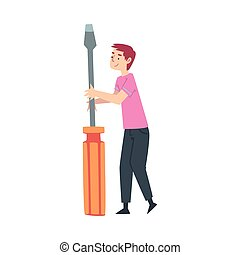 Tiny Man Holding Huge Screwdriver Cartoon Style Vector Illustration