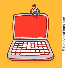 Tiny man sitting on top of laptop computer with blank screen...