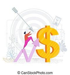 Tiny man tends upward arrow to a huge dollar. Business metaphor. Reaching the goal. Financial success, high earnings. Flat design, vector illustration.