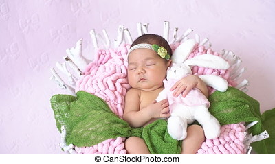 Tiny Newborn Baby's. Happy Family Concept. - Tiny Newborn...