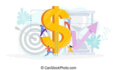Tiny people climb a huge dollar. Business metaphor. Reaching the goal. Financial success, high earnings. Flat design, vector illustration.
