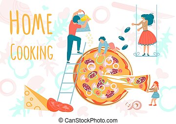 Tiny people cooking at home