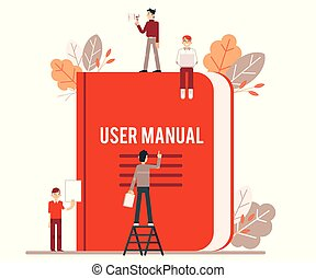 Tiny people make up and read the red user manual.