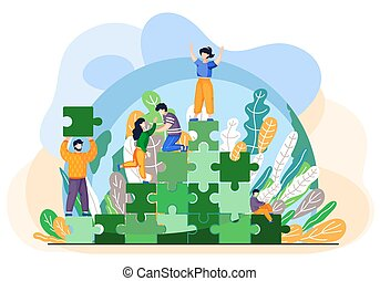 Tiny people saving world ecology. Characters climb the green mountain from blocks of puzzles