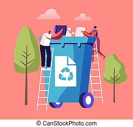 Tiny People Throw Paper Garbage into Huge Litter Bin with Recycle Sign. City Dwellers Collecting Trash. Waste Recycling, Pollution and Ecology Protection Concept. Cartoon Flat Vector Illustration