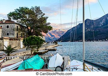 Tiny port in the city of Perast, Montenegro