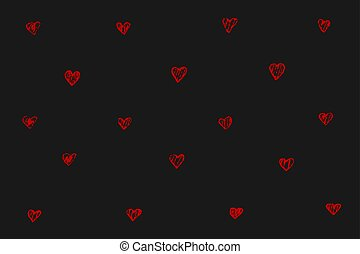 Tiny red hearts on black background
