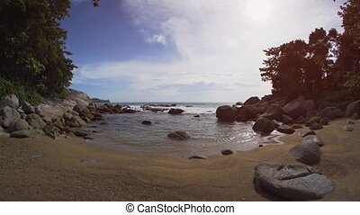 Tiny, Rocky Beach Inlet in Phuket, Thailand, with Sound -...