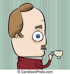 Tiny Tea - A nerdy man holding a tiny cup of tea.