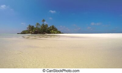Tiny Tropical Island at Low Tide in the Maldives - Tiny, ...