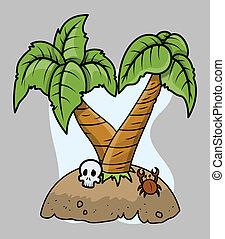 Tiny Tropical Island Vector