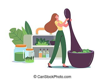 Tiny Female Character Grind Plants and Natural Ingredients in Huge Mortar for Making Traditional Medicine or Ayurvedic Remedy, Herbs and Plants on Shelf with Bottles. Cartoon Vector Illustration