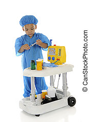 """Tiny Working ER Doc - An adorable preschool """"doctor"""" in blue..."""