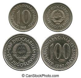 tio, och, en hundra, dinar, sfr, jugoslavien, 1983-1987