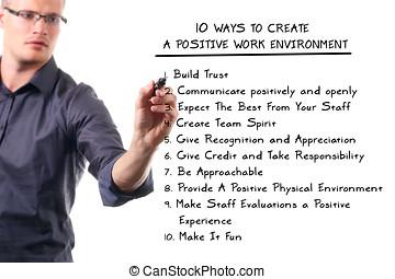 tio, väg, till skapa, a, positiv, arbetsmiljö