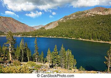 tioga, 落ち着いた, 絵のよう, アメリカ, 公園, 湖, 環境, 秋, 暖かい, カリフォルニア, パス, 山。, 日, yosemite