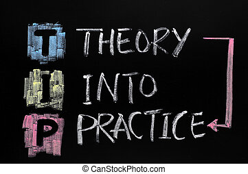 TIP acronym,theory into practice - TIP acronym, drawn with...