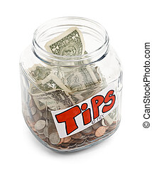Glass Jar half full of money with a tips label on it, isolated on a white bakground with drop shadow.