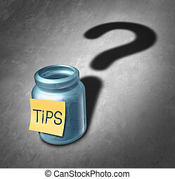 Tip Jar - Tip jar symbol and tipping questions concept as a...