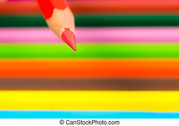 Tip of a red wooden pencil
