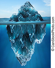 Tip of an Iceberg floating in the water
