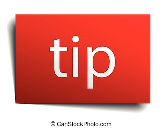 tip red paper sign on white background