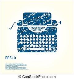 Tipewriter vector grunge icon illustration.