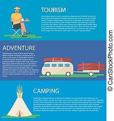 tipi, 平ら, 観光客, 旗, キャンプ, バス, カヌー, スタイル, イラスト, ベクトル, デザイン, tent.