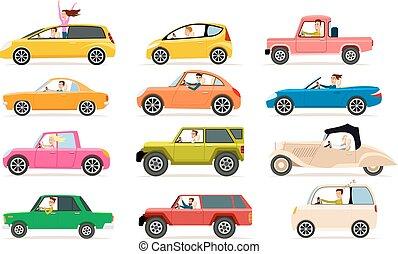 tipi, automobile, differente, cabine, collezione