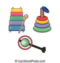 tipi, differente, illustrazione, giocattoli, bambini