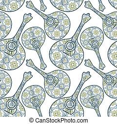 Tipical portuguese fado guitar and azulejo tiles background. vector illustration. Seamless music portuguese guitar instrument background pattern in vector.