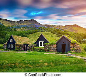 Tipical view of Icelandic turf-top houses. Colorful summer...