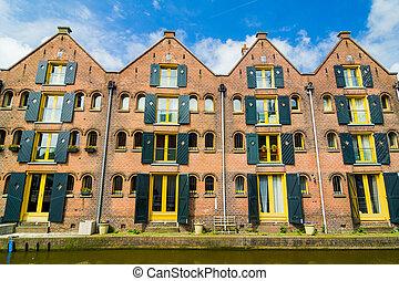 tipico, houses., famiglia, olandese