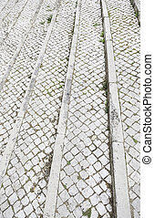 tipico, pavimento pietra, di, lisbona