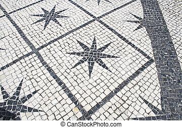 tipico, pavimento pietra, lisbona