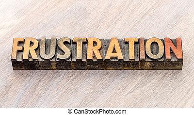 tipo, abstratos, madeira, palavra, frustração