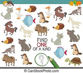 tipo, achar, animal, caráteres, um