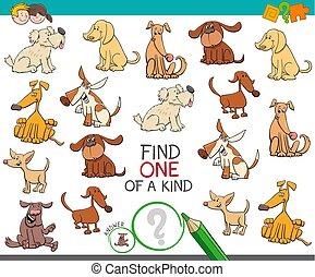 tipo, achar, cão, caráteres, um