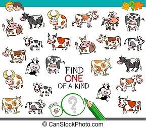 tipo, achar, caráteres, vaca, um