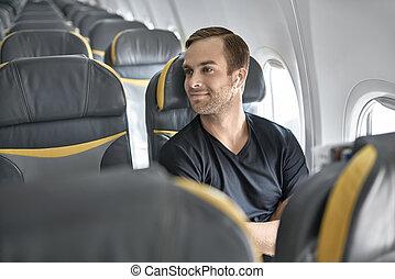 tipo, aeroplano, bello