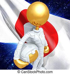 tipo, astronauta, oro
