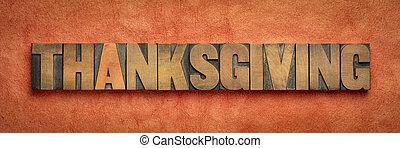 tipo, bandiera, letterpress, ringraziamento, legno