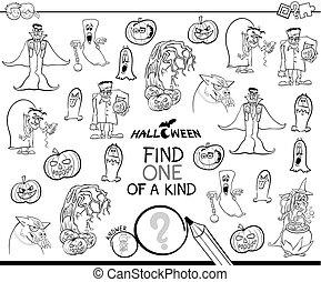 tipo, colorare, halloween, carattere, uno, libro